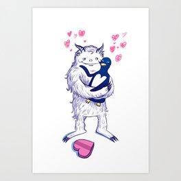 Yeti and Penguin Valentine Art Print