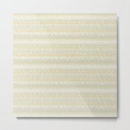 Big Stich Cream Beige - Knitting Fabric Art Metal Print