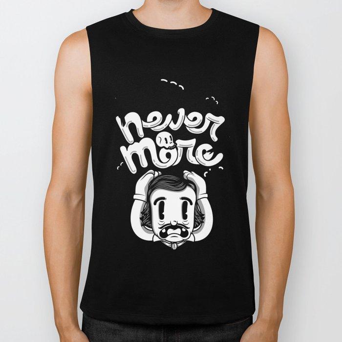 Edgar Allan Poe - Never More B/W Biker Tank