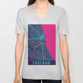 Chicago Neon City Map, Chicago Minimalist City Map Unisex V-Neck
