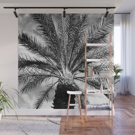 Exotic Palm Tree in Black and White Wall Mural
