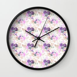 Summer pastel pink lilac brown watercolor hand painted floral Wall Clock