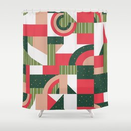Traditional Xmas Quilt Shower Curtain