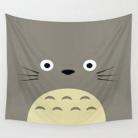 studio ghibli Wall Tapestries featuring Fuzzy Grey Studio Ghibli by Yamilett Pimentel