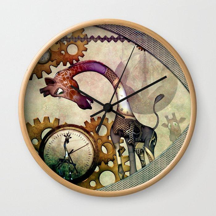 Funny giraffe, steampunk with clocks and gears Wall Clock