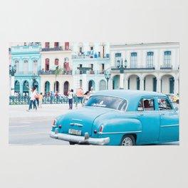 Colorful Blue Car in Old Havana Cuba Rug