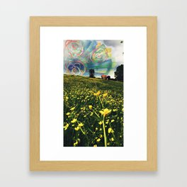 Yellow Flower Field and  Sky with Expression Framed Art Print