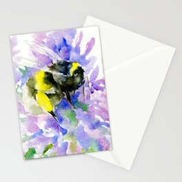 Bumblebee and Lavender Flowers, nature bee honey making decor Stationery Cards