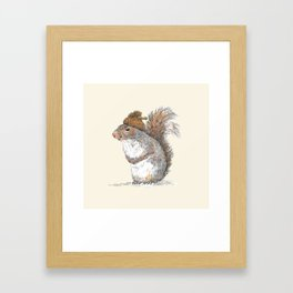 Squirrel with an Acorn Hat Framed Art Print