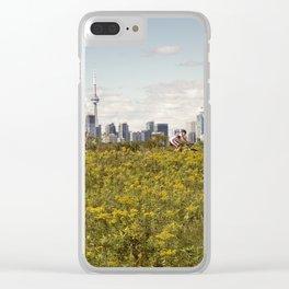 Wild yellow flowers decored Toronto skyline Clear iPhone Case
