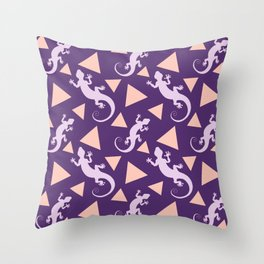 Wild crawling lizards, geometric triangle shapes whimsical ethnic tribal retro vintage dark purple lizard abstract pattern. Gifts for geometry and animal lovers. Herpetology theme. Throw Pillow