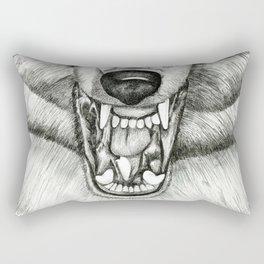 Pencil Drawing - Wolf Growl Rectangular Pillow