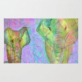 Colored elephants Rug
