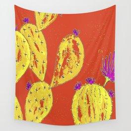 Orange cacti garden Wall Tapestry