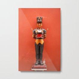 Carved drummer figure decoration Metal Print