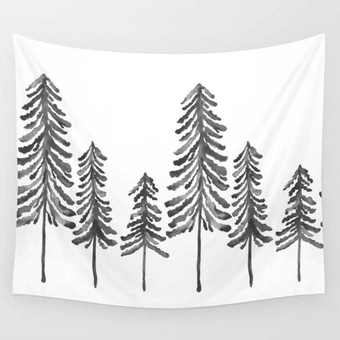 Pine Trees – Black Ink Wall Tapestry