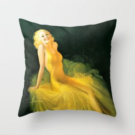 """Pinup by Rolf Armstrong """"The Yellow Gown"""" Throw Pillow"""