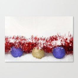 Christmas Baubles Tinsel and Snow Canvas Print