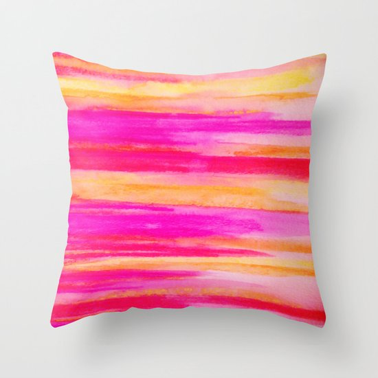 Welcome to Funky Town - Disco Inferno Dance Party Bold Rainbow Stripes Abstract Watercolor Painting Throw Pillow