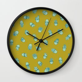 Mustard+Teal Succulents Wall Clock