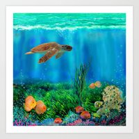 UnderSea with Turtle Art Print