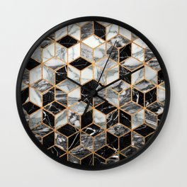 Marble Cubes - Black and White Wall Clock
