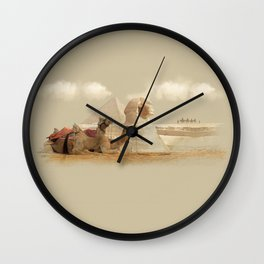 Egypt landscape with camels Wall Clock