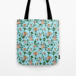 Fennec Foxes in Blue Tote Bag