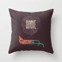 smoke Throw Pillows featuring Smoke! by Hector Mansilla
