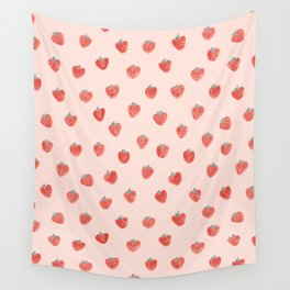 Strawberries on Pink Wall Tapestry