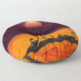 Greater Flamingos at Sunrise Floor Pillow
