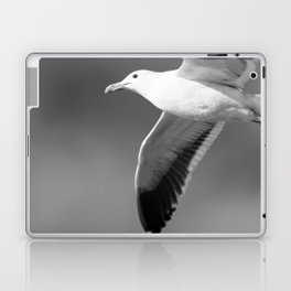 Flying seagull in black and white Laptop & iPad Skin