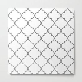 Quatrefoil - Gray and White Metal Print