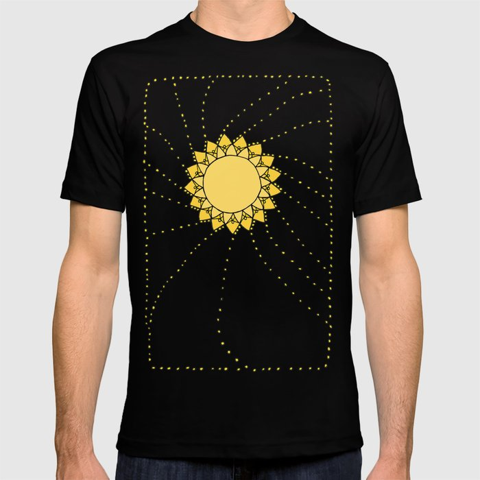 Celestial Swirling Sun Boho Mandala Hand-drawn Illustration T-shirt