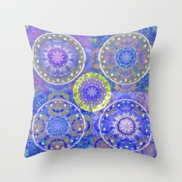 Color Therapy Indigo Cooling Boho Mandala Patchwork Print Throw Pillow