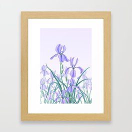 purple iris watercolor Framed Art Print
