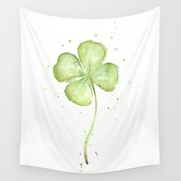 Clover Four Leaf Lucky Charm Green Clovers Wall Tapestry