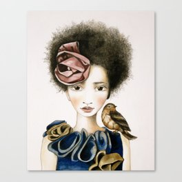 rose and the bird Canvas Print