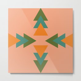 Southwest Triangles - Minimalist Geometric Pattern in Peach Orange Teal  Metal Print