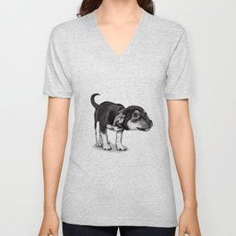 Cute cautious puppy wagging it's tail. Unisex V-Neck