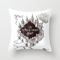 marauders Throw Pillows featuring MARAUDERS MAP by ThreeBoys