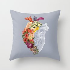 Flower Heart Spring Light Grey Throw Pillow
