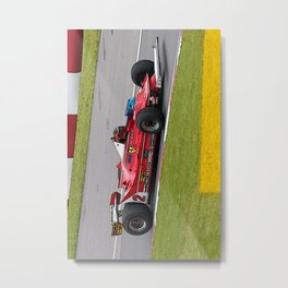 Sketch of F1 Champion Gilles Villeneuve - year 1980 car 312 T5 - Vertical Metal Print