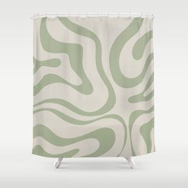 Liquid Swirl Abstract Pattern in Almond and Sage Green Shower Curtain
