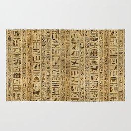 Egyptian hieroglyphs on papyrus Rug