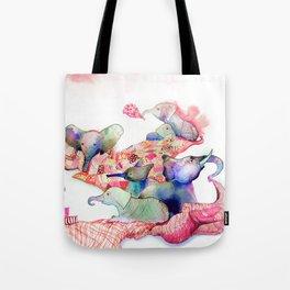 Elephants, Pillows & Blankets Tote Bag