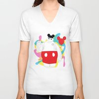 baymax V-neck T-shirts featuring Baymax by The Space Wanderer