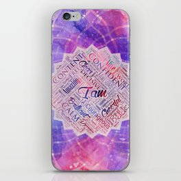 I am Affirmations Word Cloud Art in lotus iPhone Skin