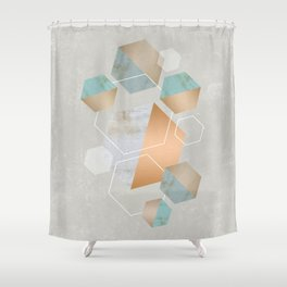 Honeycomb Concrete Shower Curtain
