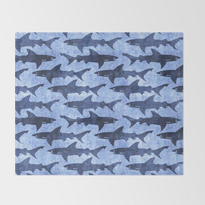 Blue Ocean Shark Throw Blanket